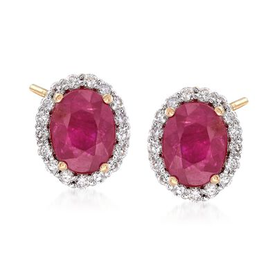 3.20 ct. t.w. Burmese Ruby and .51 ct. t.w. Diamond Earrings in 18kt Yellow Gold, , default