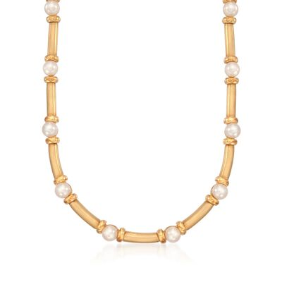 C. 1990 Vintage Turi Designs 6.5-7mm Cultured Pearl Necklace in 18kt Yellow Gold, , default