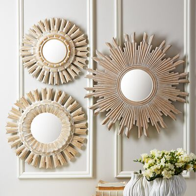 Set of 3 Wooden Sun Mirrors, , default