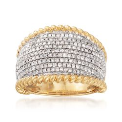 1.00 ct. t.w. Diamond Roped Border Dome Ring in 18kt Gold Over Sterling, , default