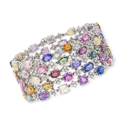 64.45 ct. t.w. Multicolored Sapphire and 9.00 ct. t.w. Diamond Bracelet in 18kt White Gold