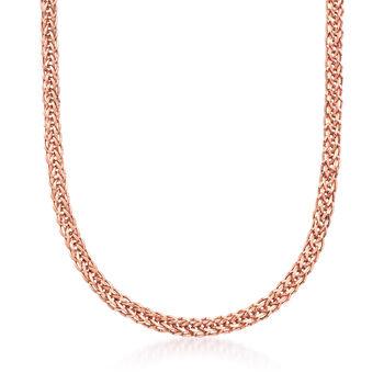 18kt Rose Gold Wheat-Link Necklace