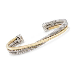 "Phillip Gavriel ""Italian Cable"" Sterling Silver and 18kt Yellow Gold Cuff Bracelet, , default"