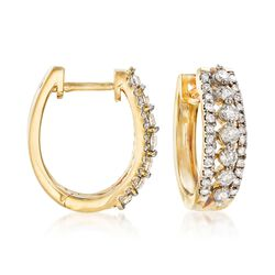 1.00 ct. t.w. Diamond Three-Row Hoop Earrings in 14kt Yellow Gold, , default
