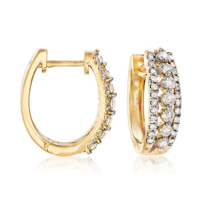 "1.00 ct. t.w. Diamond Three-Row Hoop Earrings in 14kt Yellow Gold. 5/8"", , default"