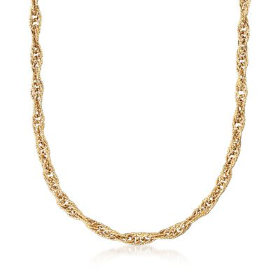 18kt Yellow Gold Large Link Rope Chain Necklace