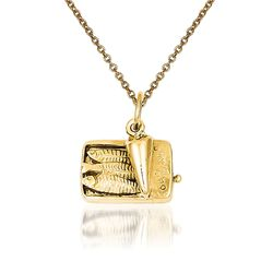 "14kt Yellow Gold Sardine can Pendant Necklace. 18"", , default"