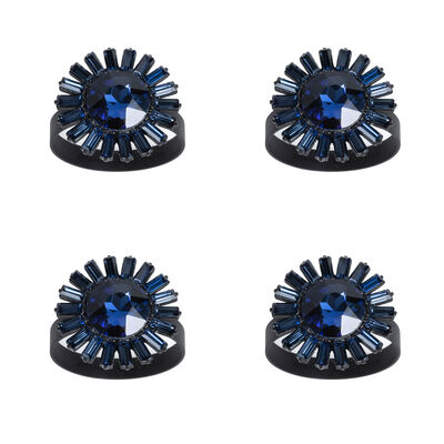 Joanna Buchanan Set of 4 Navy Giant Gemstone Napkin Rings