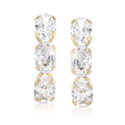 3.00 ct. t.w. Triple-Oval CZ Drop Earrings in 14kt Yellow Gold, , default