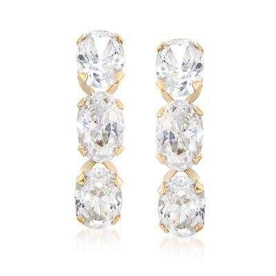3.00 ct. t.w. Triple-Oval CZ Drop Earrings in 14kt Yellow Gold, , default