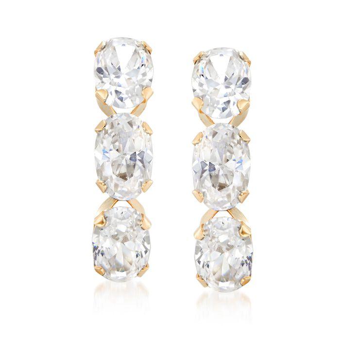 3.00 ct. t.w. Triple-Oval CZ Drop Earrings in 14kt Yellow Gold , , default