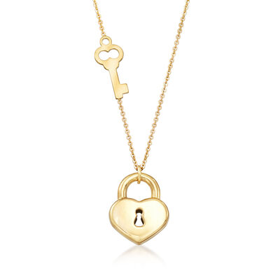 Italian 18kt Yellow Gold Key and Locked Heart Pendant Necklace, , default