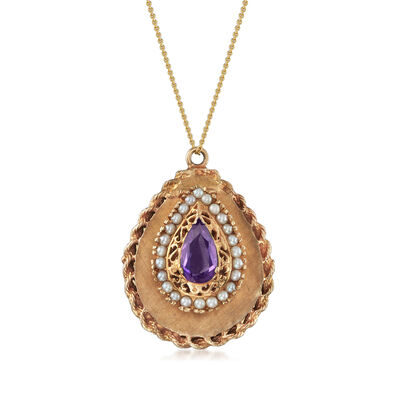 C. 1960 Vintage 2.50 Carat Simulated Sapphire and 2.4mm Cultured Pearl Locket Necklace in 14kt Yellow Gold, , default