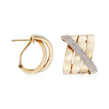 .91 ct. t.w. Diamond Crisscross Earrings in 14kt Yellow Gold, , default