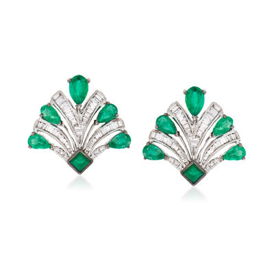 2.10 ct. t.w. Emerald and .65 ct. t.w. Diamond Earrings in 18kt White Gold, , default