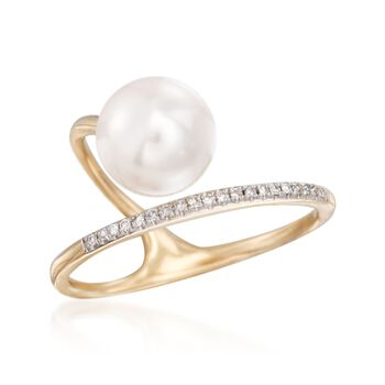 8.5mm Cultured Pearl Abstract Ring With Diamond Accents in 14kt Yellow Gold, , default