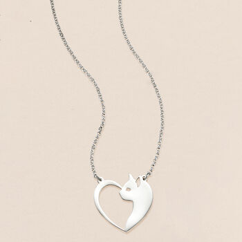 """Sterling Silver Cat and Heart Necklace. 18"""""""