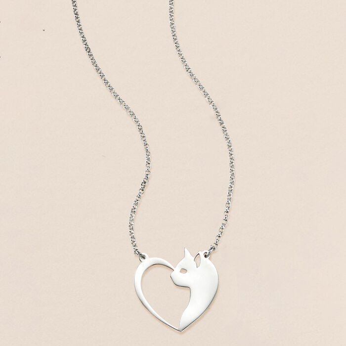 Sterling Silver Cat and Heart Necklace