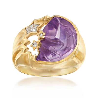 C. 1980 Vintage Amethyst and .25 ct. t.w. Diamond Stars and Moon Ring in 18kt Yellow Gold, , default
