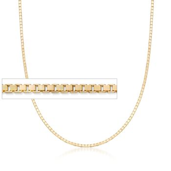 1.4mm 14kt Yellow Gold Box Chain Necklace, , default
