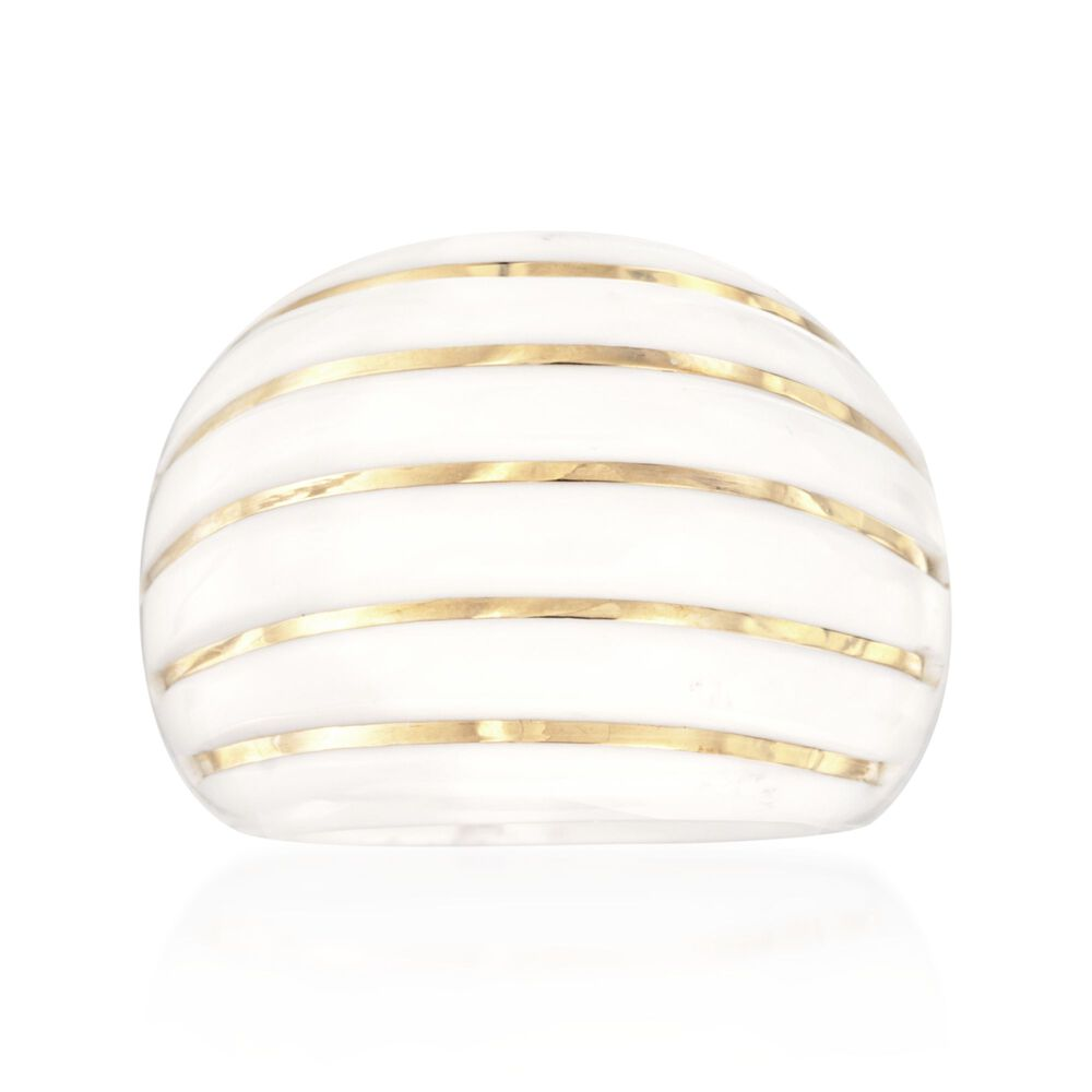 ae842dfba White Agate Striped Dome Ring with 14kt Yellow Gold | Ross-Simons