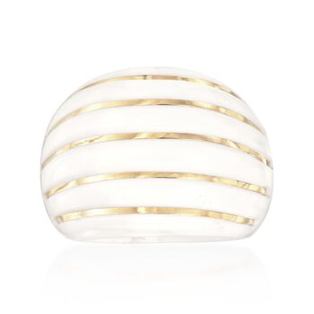 Italian White Agate Striped Dome Ring With 14kt Yellow Gold, , default