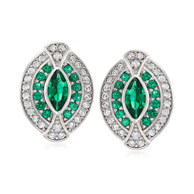 1.50 ct. t.w. Simulated Emerald and 1.50 ct. t.w. CZ Earrings in Sterling Silver