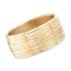 Italian Andiamo 14kt Yellow Gold Wide Diamond-Cut Bangle Bracelet, , default