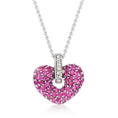 2.30 ct. t.w. Pink Sapphire and Diamond-Accented Heart Pendant Necklace in 14kt White Gold