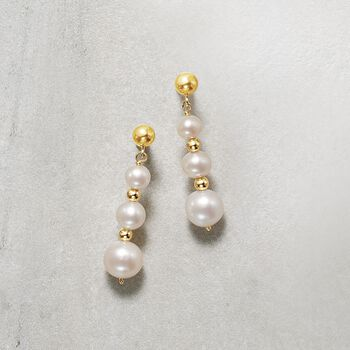 5-9mm Cultured Pearl Linear Drop Earrings in 14kt Yellow Gold, , default