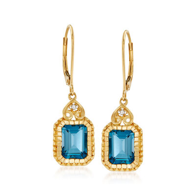 3.60 ct. t.w. London Blue Topaz Drop Earrings with Diamond Accents in 14kt Yellow Gold