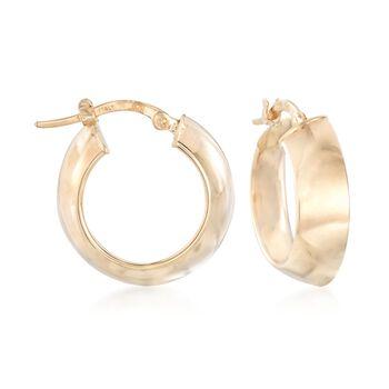 "Italian 14kt Yellow Gold Convex Hoop Earrings. 3/4"", , default"