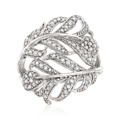 .50 ct. t.w. Diamond Feather Bypass Ring in Sterling Silver, , default
