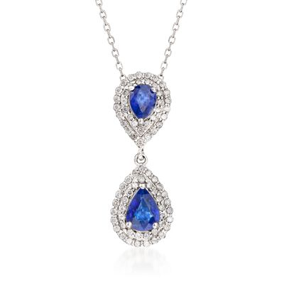 1.80 ct. t.w. Sapphire and .75 ct. t.w. Diamond Double Border Pendant Necklace in 14kt White Gold, , default
