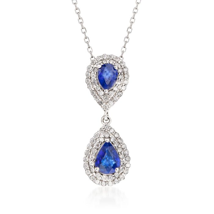 """1.80 ct. t.w. Sapphire and .75 ct. t.w. Diamond Double Border Pendant Necklace in 14kt White Gold. 16"""", , default"""