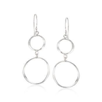 Sterling Silver Double Open Circle Drop Earrings, , default