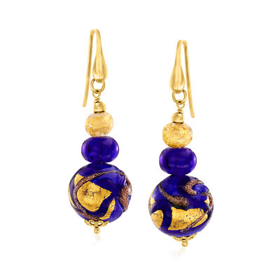 Italian Blue and Gold Murano Glass Bead Drop Earrings with 18kt Gold Over Sterling