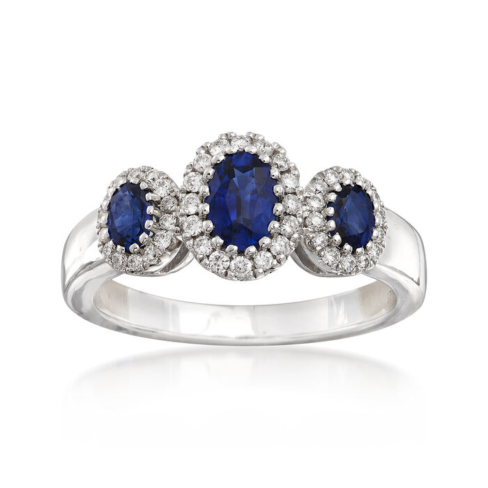 Gregg Ruth 1.21 ct. t.w. Sapphire and .27 ct. t.w. Diamond Ring in 18kt White Gold