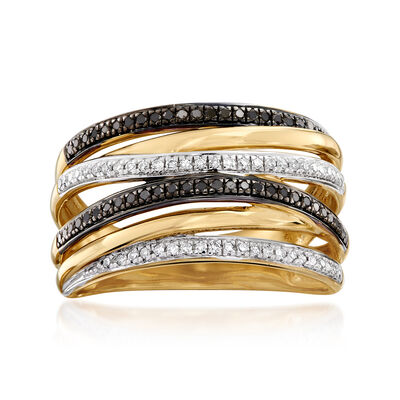 .26 ct. t.w. Black and White Diamond Highway Ring in 18kt Gold Over Sterling, , default