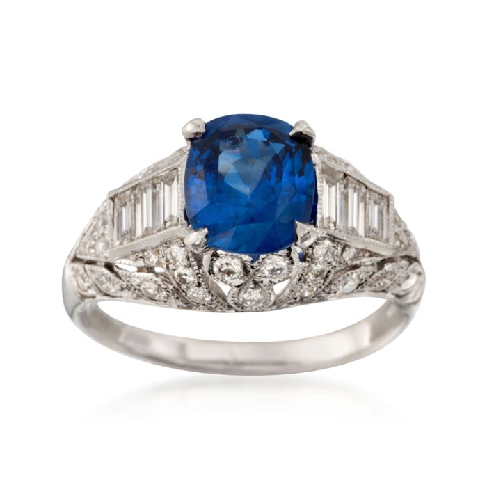 C. 2000 Vintage 2.18 Carat Sapphire and 1.00 ct. t.w. Diamond Ring in 18kt White Gold. Size 6.5, , default