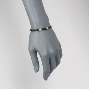 """ALOR """"Classique"""" Black Stainless Steel Cable Double-Station Bracelet With Diamonds and 18kt White Gold, , default"""