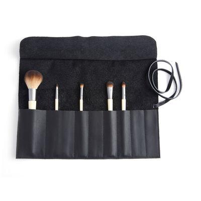 Royce Black Leather Makeup Brush Roll