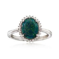 Black Opal and .13 ct. t.w. Diamond Ring in Sterling Silver, , default