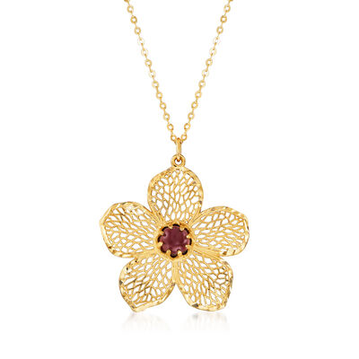 Italian .60 Carat Garnet Flower Pendant Necklace in 14kt Yellow Gold