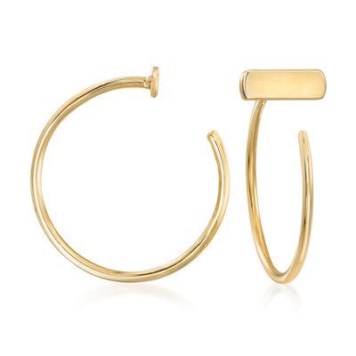 14kt Yellow Gold Bar C-Hoop Earrings