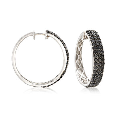 3.00 ct. t.w. Black Diamond Three-Row Hoop Earrings in Sterling Silver, , default