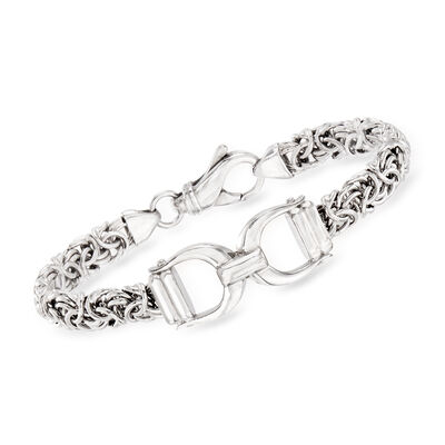 Italian Sterling Silver Byzantine Bracelet with Horse Bit, , default
