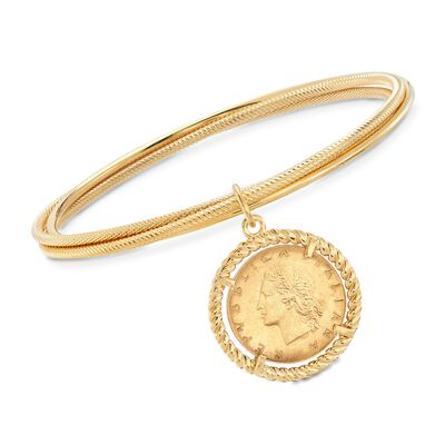 Italian 18kt Gold Over Sterling Replica Lira Coin Rolling Bangle Bracelet, , default