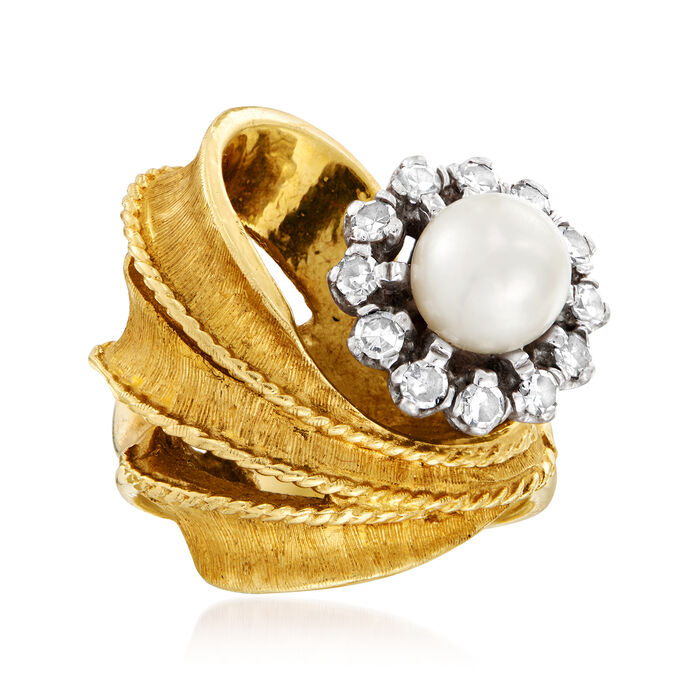 C. 1970 Vintage 6.5mm Cultured Pearl and .35 ct. t.w. Diamond Flower Ring in 14kt Yellow Gold. Size 6