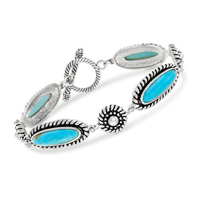 Stabilized Turquoise Bracelet in Sterling Silver, , default